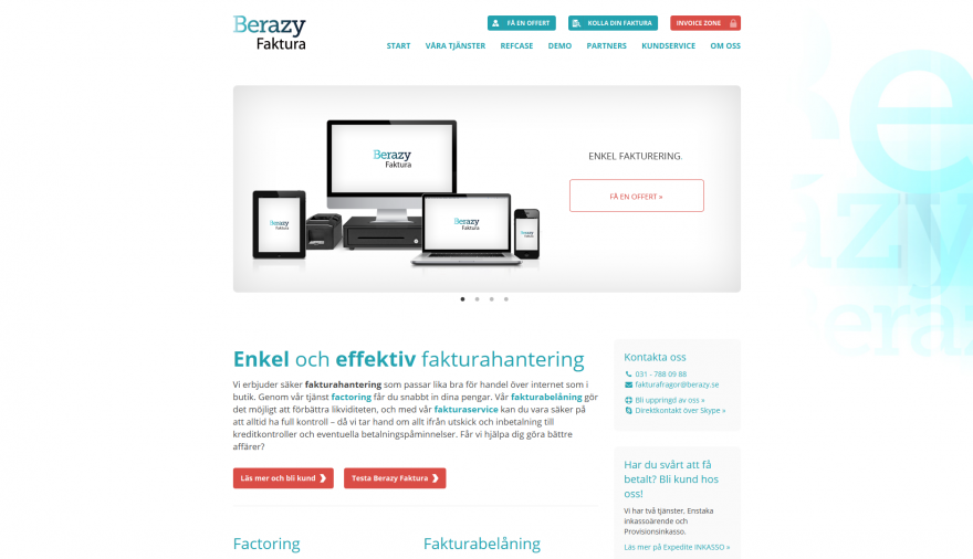 Berazy Faktura webbplats / hemsida / webbdesign