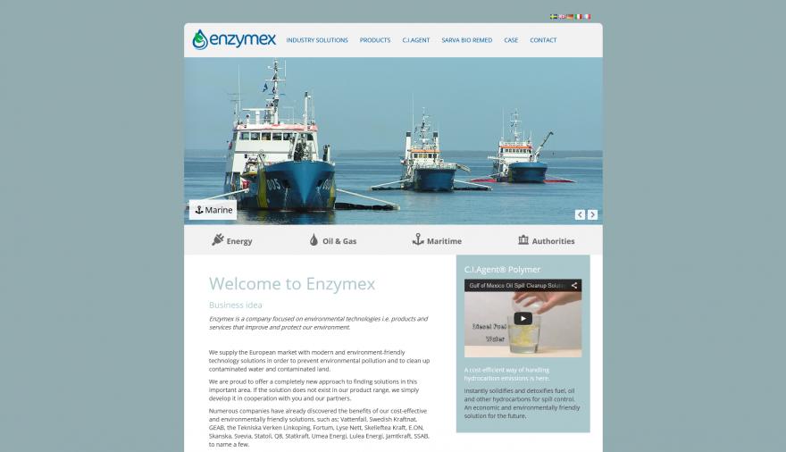 Enzymex webbplats / hemsida / webbdesign
