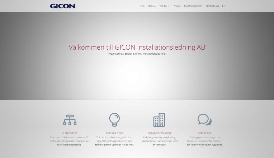 Gicon Installationsledning AB, webbplats, hemsida, webbdesign, SEO