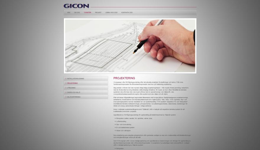 Gicon Installationsledning AB webbplats / hemsida / webbdesign