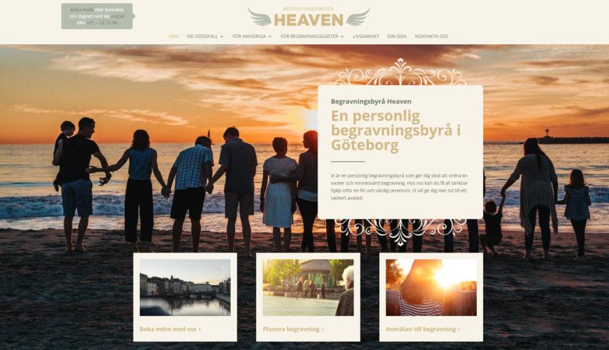 Begravningsbyrå Heaven, timecut, hemsida, webbplats, webbdesign, SEO