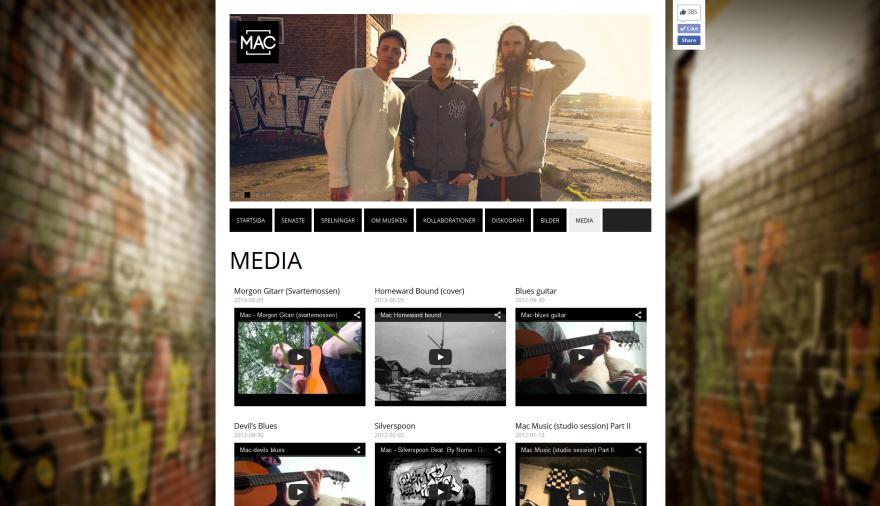 Artisten Mac webbplats / hemsida / webbdesign / sociala medier