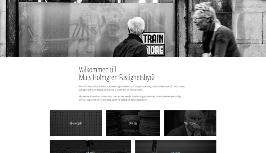 Mats Holmgren Fastighetsbyrå, hemsida, webbplats, webbdesign, FasAd API