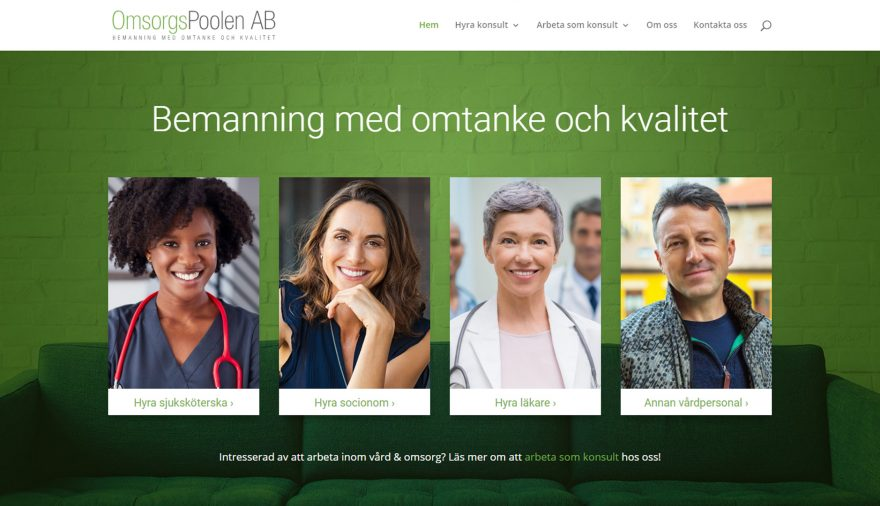 Omsorgspoolen AB, hemsida, webbplats, webbdesign