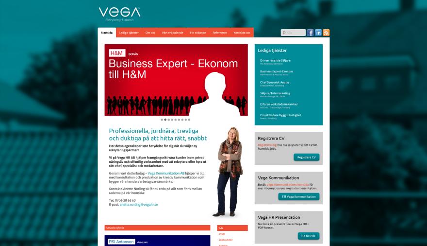 Vega HR webbplats / hemsida / webbdesign