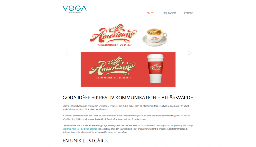 Vega Kommunikation AB webbplats / hemsida / webbdesign