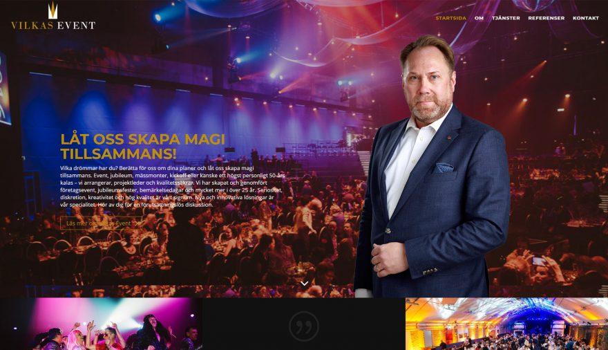Vilkas Event, hemsida, webbplats, webbdesign