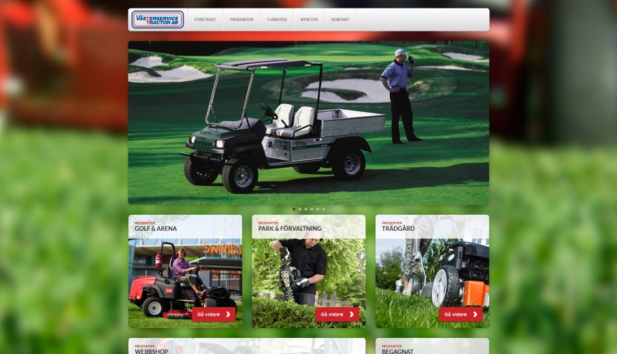 Västerservice Tractor AB webbplats / hemsida / webbdesign / webbshop